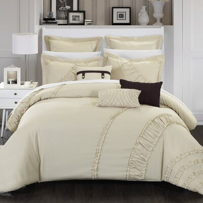 Lunar 12 Piece Comforter Set Size: King, Color: Beige