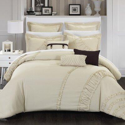 Lunar 12 Piece Comforter Set Size: Queen, Color: Beige