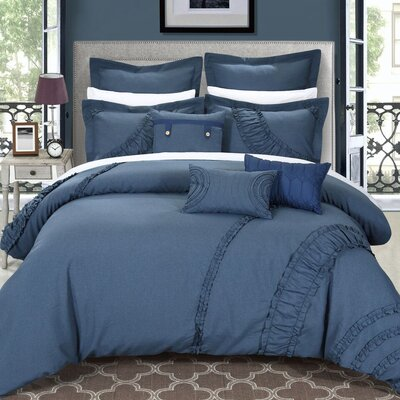 Lunar 12 Piece Comforter Set Size: King, Color: Blue