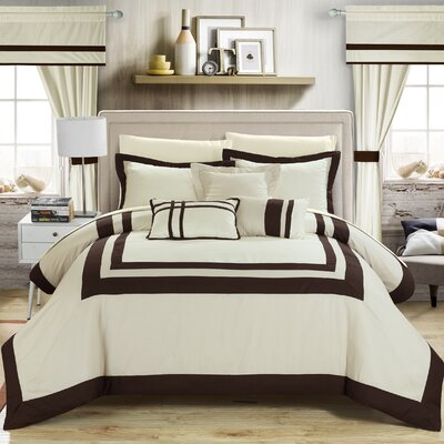 Ritz 20 Piece Comforter Set Size: King, Color: Beige