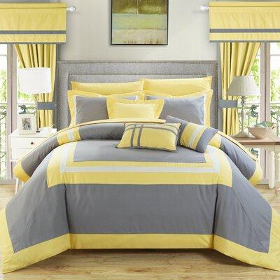 Ritz 20 Piece Comforter Set Size: Queen, Color: Silver