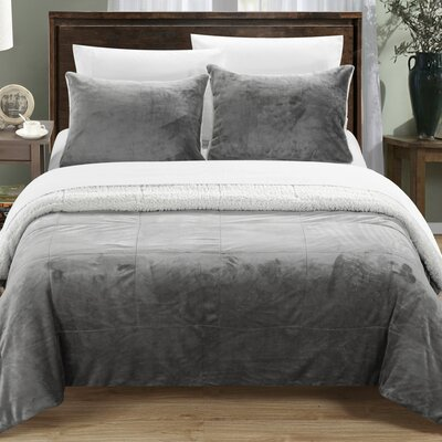 Evie 3 Piece Comforter Set Size: Queen, Color: Grey