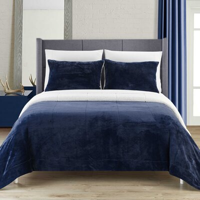 Evie 3 Piece Comforter Set Size: King, Color: Navy