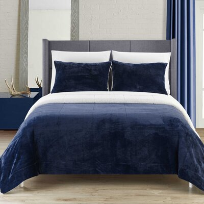 Evie 7 Piece Comforter Set Size: King, Color: Navy
