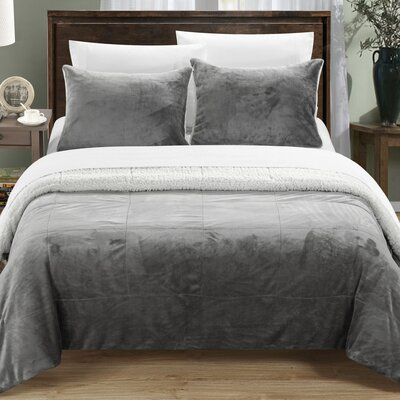 Evie 7 Piece Comforter Set Size: Queen, Color: Grey
