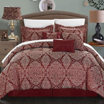 Jessica 7 Piece Comforter Set Size: Queen, Color: Red