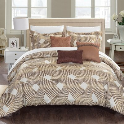 Fiorella 10 Piece Comforter Set Size: Queen, Color: Gold