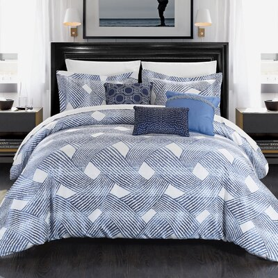 Fiorella 10 Piece Comforter Set Size: King, Color: Blue
