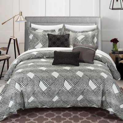 Fiorella 10 Piece Comforter Set Size: Queen, Color: Grey