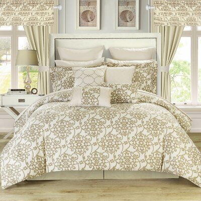Charmaine 24 Piece Comforter Set Size: Queen, Color: Beige