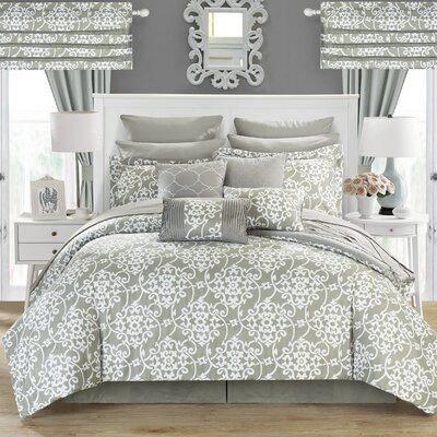 Charmaine 24 Piece Comforter Set Size: King, Color: Silver