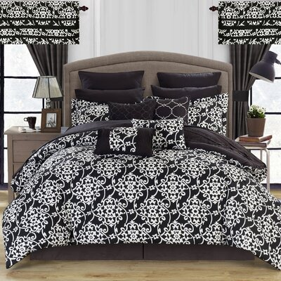 Charmaine 24 Piece Comforter Set Size: King, Color: Black