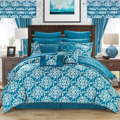 Charmaine 24 Piece Comforter Set Size: King, Color: Teal