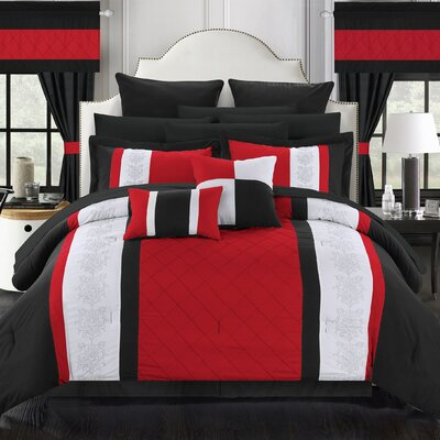 Danielle 24 Piece Comforter Set Size: Queen, Color: Red