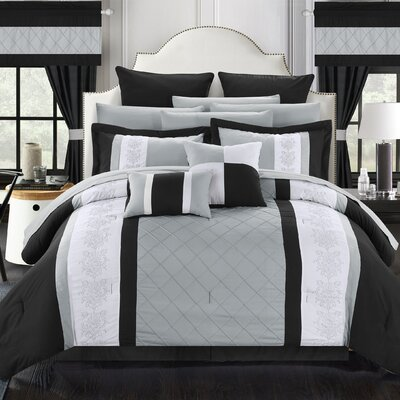 Danielle 24 Piece Comforter Set Size: Queen, Color: Black