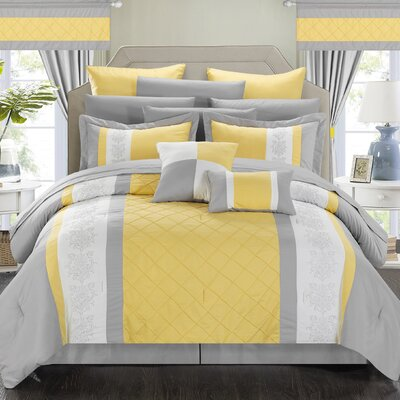 Danielle 24 Piece Comforter Set Size: King, Color: Yellow