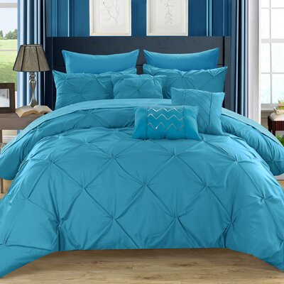 Filicia 10 Piece Comforter Set Size: King, Color: Turquoise