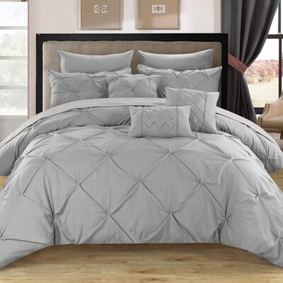 Alannah 10 Piece Comforter Set Size: Queen, Color: Silver