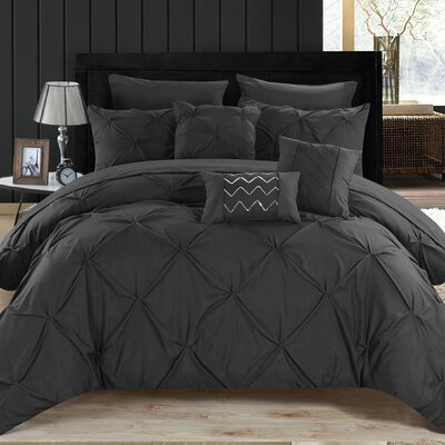 Filicia 10 Piece Comforter Set Size: King, Color: Black