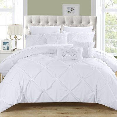 Filicia 10 Piece Comforter Set Size: King, Color: White