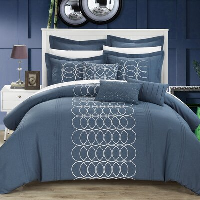 Moderna 8 Piece Comforter Set Size: Queen, Color: Blue
