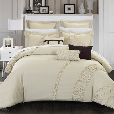 Lunar 8 Piece Comforter Set Size: Queen, Color: Beige