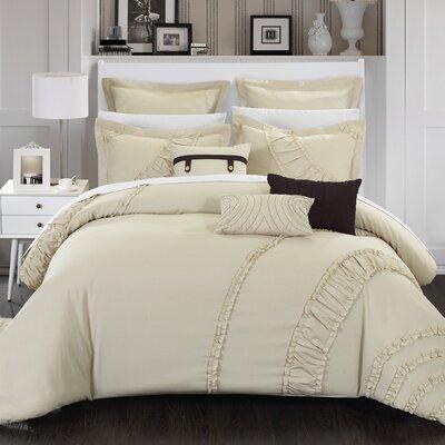 Lunar 8 Piece Comforter Set Size: King, Color: Beige