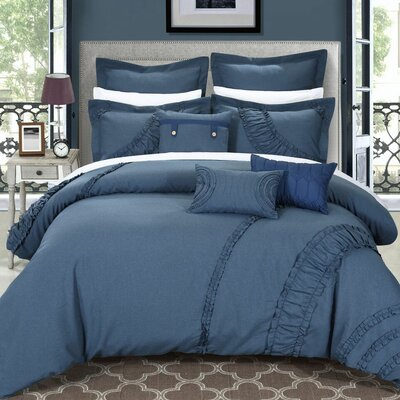 Lunar 8 Piece Comforter Set Size: King, Color: Blue