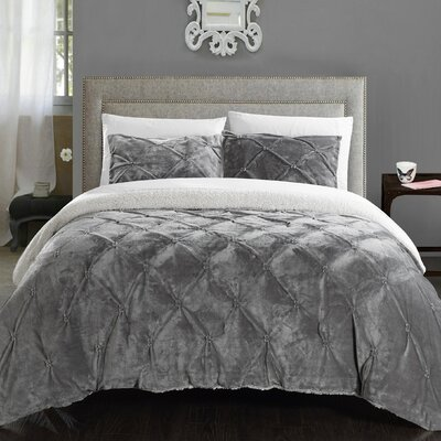 Abrianna 3 Piece Comforter Set Size: Queen, Color: Grey