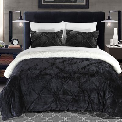 Fontane 3 Piece Comforter Set Size: King, Color: Black