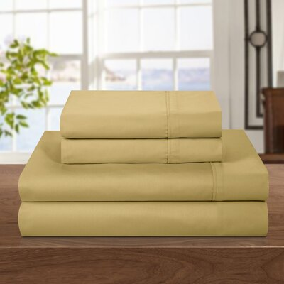500 Thread Count 100% Egyptian-Quality Cotton Sheet Set Color: Gold, Size: Queen