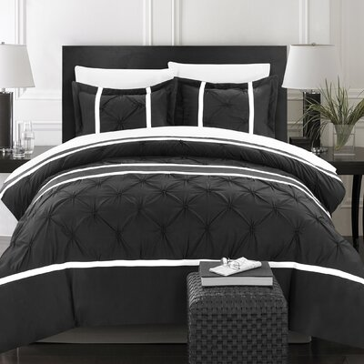 Veronica 3 Piece Duvet Cover Set Size: King, Color: Black