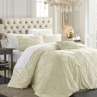 Cadmore 5 Piece Comforter Set Size: King, Color: Beige