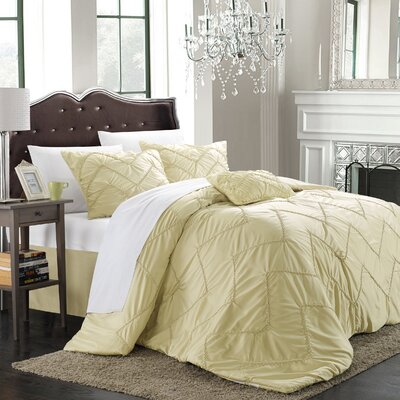 Cadmore 5 Piece Comforter Set Size: King, Color: Champagne