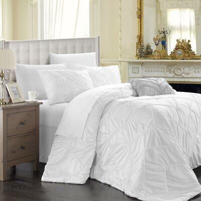 Cadmore 5 Piece Comforter Set Color: White, Size: King