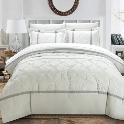 Veronica 3 Piece Duvet Cover Set Color: White, Size: King