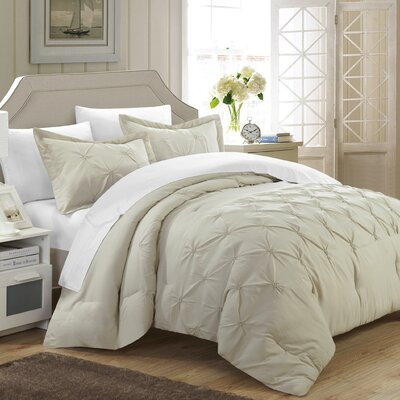 Veronica 3 Piece Duvet Cover Set Size: Queen, Color: Beige