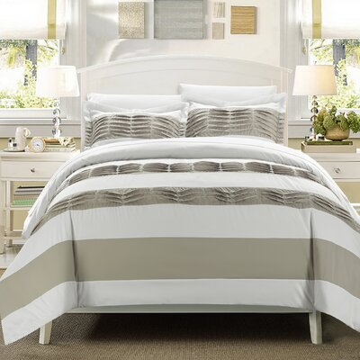 Pleated applique Park Lane 9 Piece Duvet Cover Set Size: King, Color: White