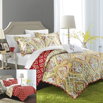 Paisley Global Inspired Vedara 4 Piece Reversible Quilt Set Size: Queen, Color: Gold