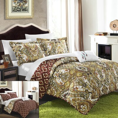 Paisley Global Inspired Vedara 4 Piece Reversible Quilt Set Size: Queen, Color: Brown