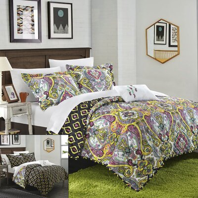 Paisley Global Inspired Vedara 4 Piece Reversible Quilt Set Size: King, Color: Purple