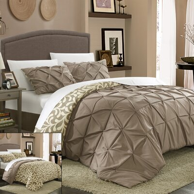 Talia 3 Piece Duvet Cover Set Size: King, Color: Taupe