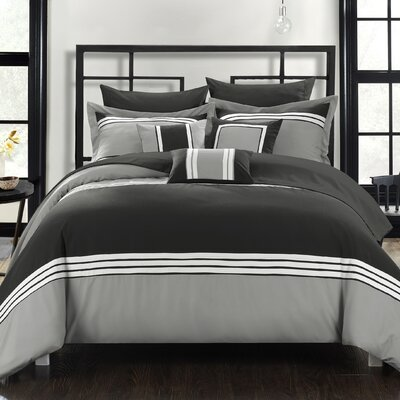 Falcon Hotel 10 Piece Comforter Set Size: King, Color: Black