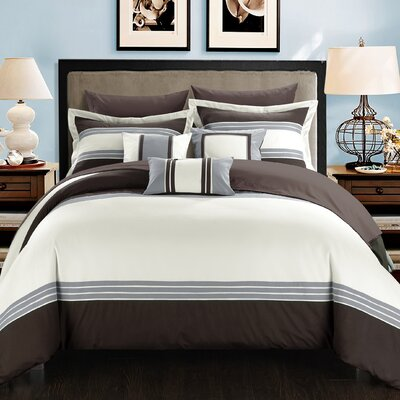 Falcon Hotel 10 Piece Comforter Set Size: Queen, Color: Brown