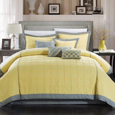 Rhodes 8 Piece Comforter Set Size: King, Color: Yellow