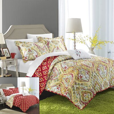 Paisley Global Inspired Vedara 8 Piece Reversible Quilt Set Size: Queen, Color: Gold