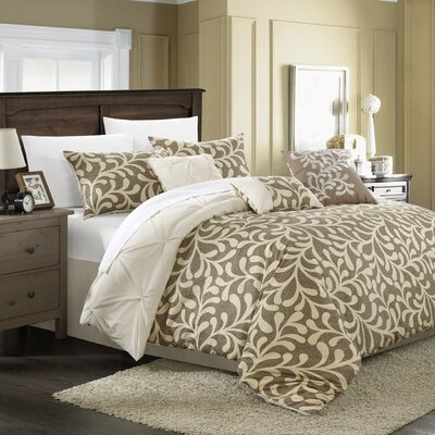 Trenton 7 Piece Reversible Comforter Set Size: King, Color: Beige