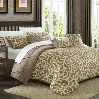 Trenton 7 Piece Reversible Comforter Set Size: King, Color: Taupe