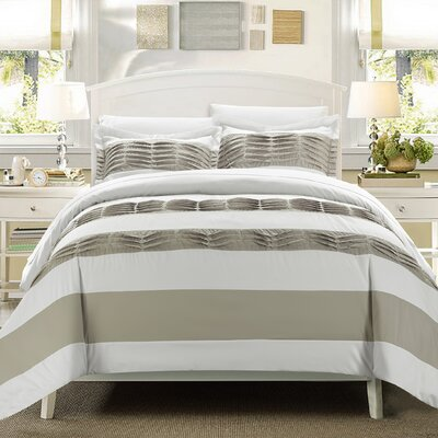 Pleated applique Park Lane 3 Piece Duvet Set Color: White, Size: Queen