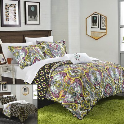 Paisley Global Inspired Vedara 8 Piece Reversible Quilt Set Size: King, Color: Purple